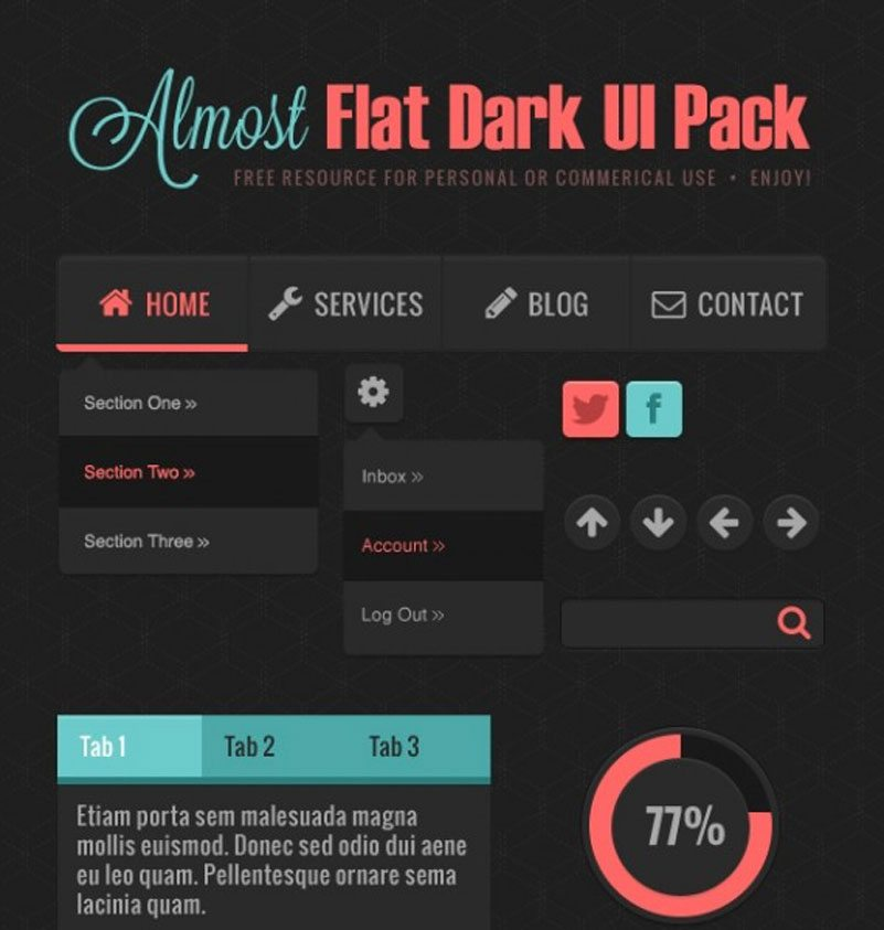 Almost Flat Dark UI Pack