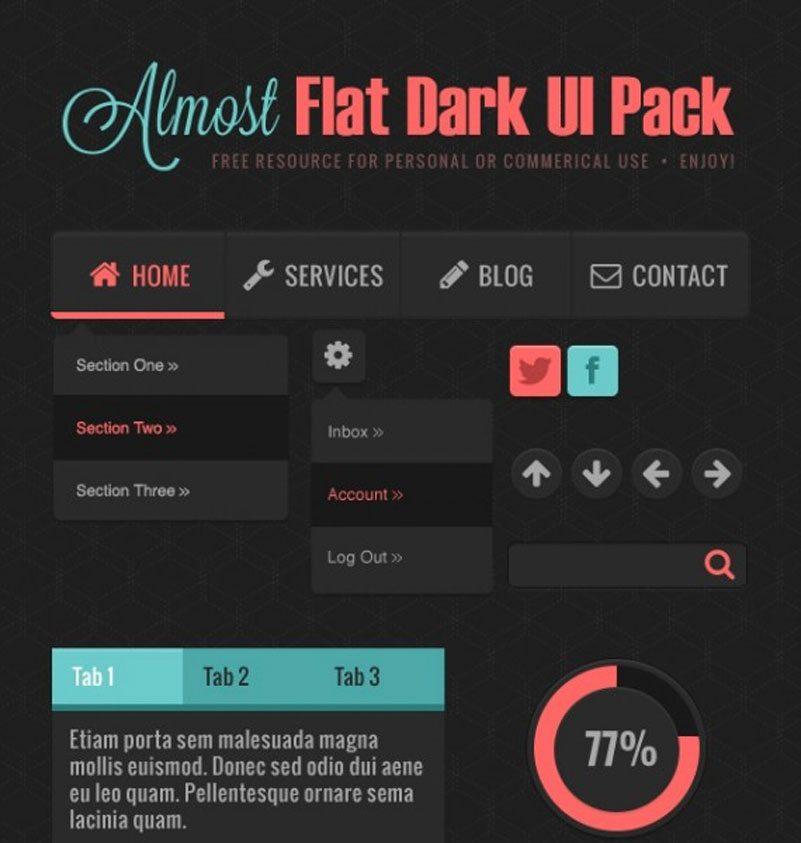Almost Flat Dark UI Pack