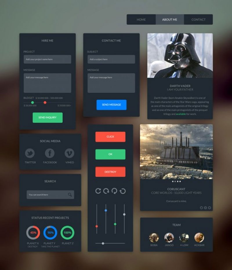Dark Flat UI Kits