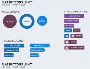 Flat Design Buttons for Websites