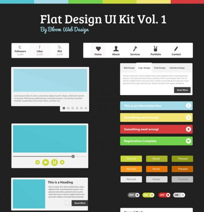 Flat Design UI Kit Vol. 1