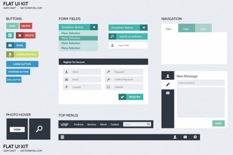 Flat UI Kits design PSD