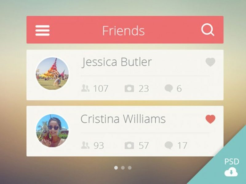 Friends list UI (Free PSD)
