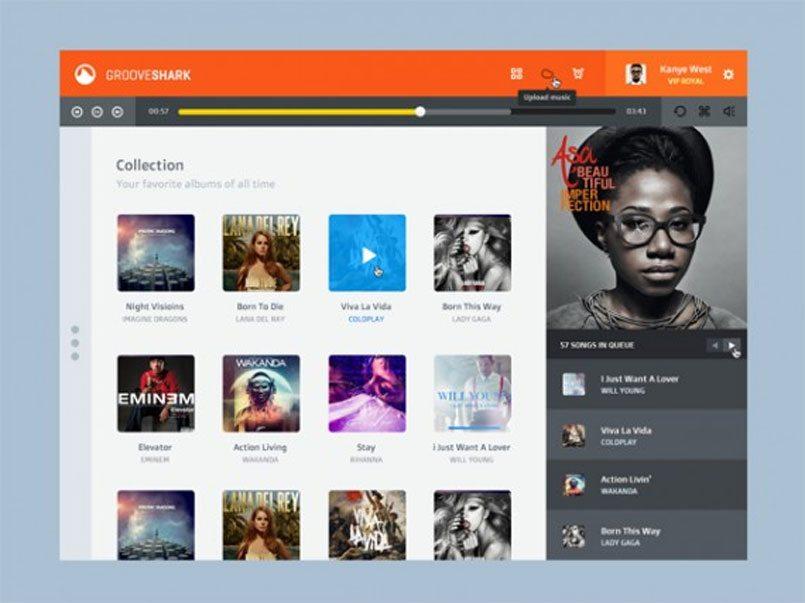 Grooveshark PSD (Flat redesign)
