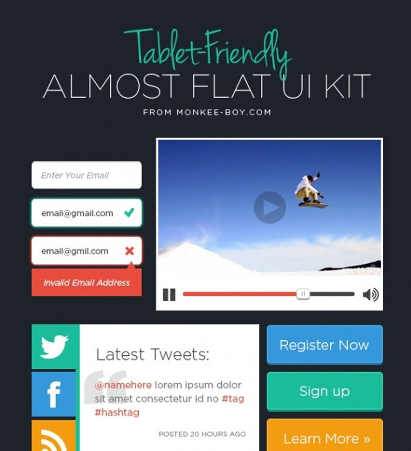 Tablet-Friendly Almost Flat UI Kit
