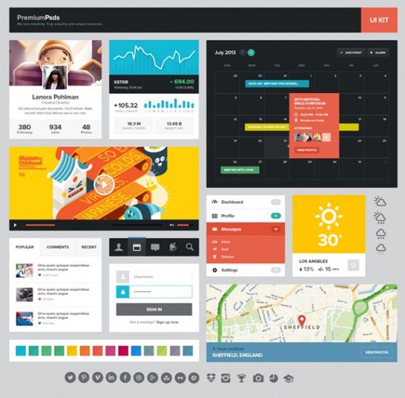 Free Flat UI Kits to Boost Your Designs in No Time (Part-3)