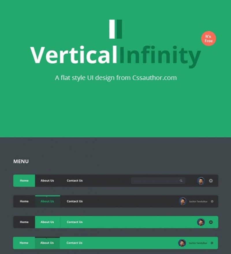 Vertical Infinity – A Mega Free Flat UI Kits PSD