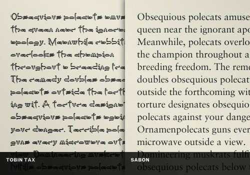conventional typefaces