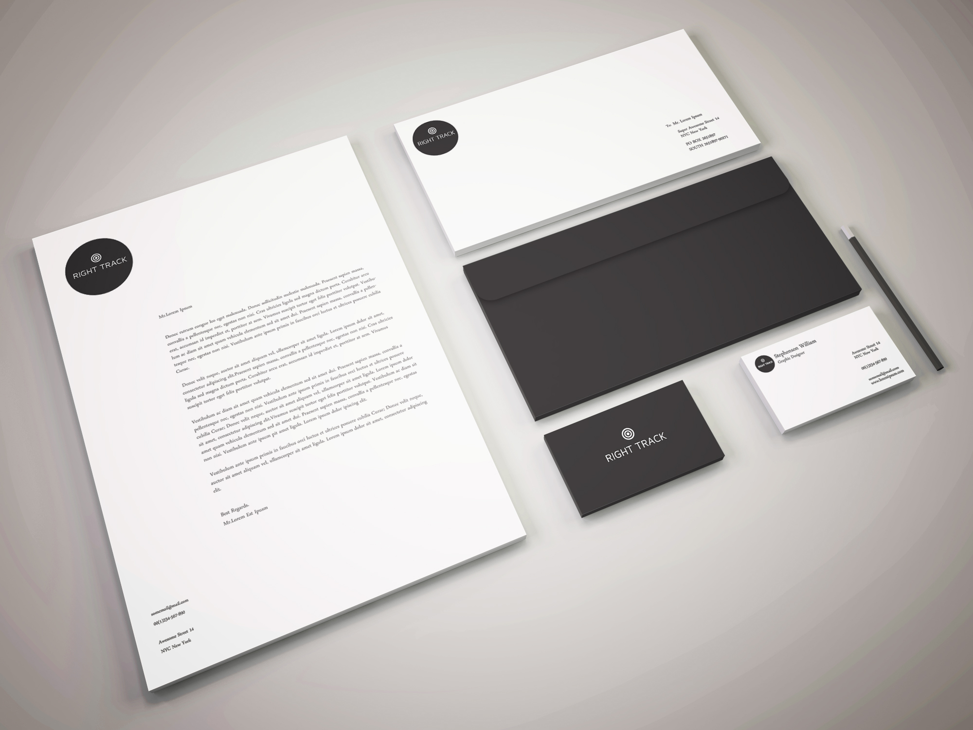 Stunning Stationary Design For Right Track Consulting Firm