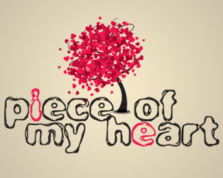 Piece of my heart Love Logo Design