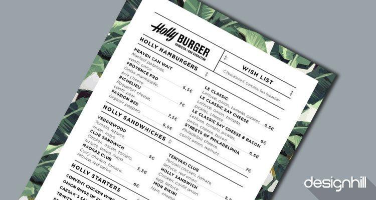 Holly Burger menu card design