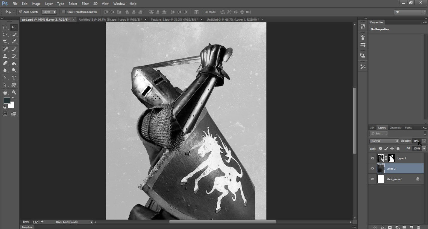 Create An Ink Splattering Knight Composition Step 2