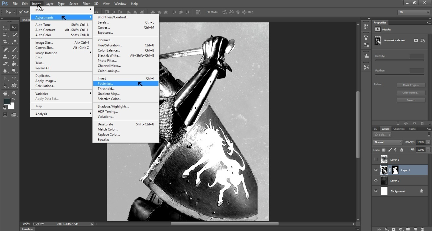 Create An Ink Splattering Knight Composition Step -6
