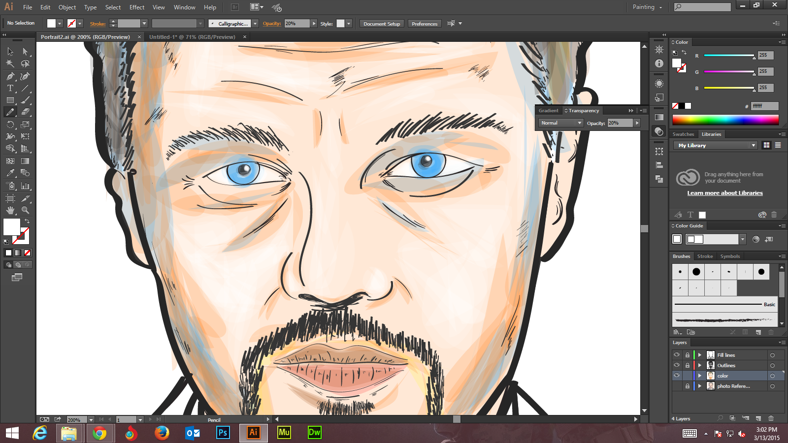Step -6 -1 Create Digital Art And Marker Style Portrait