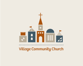 Village Community Church Religious Themed Logo Designs