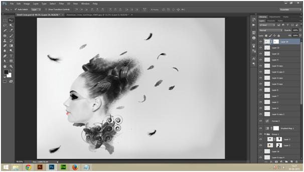 Create A Dark Abstract Crow Manipulation Step - 3