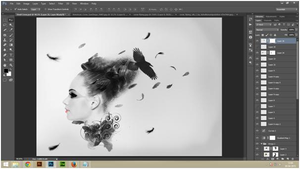 Create A Dark Abstract Crow Manipulation Step - 7 a