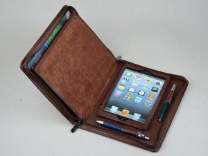 Leather notebook and iPad holder