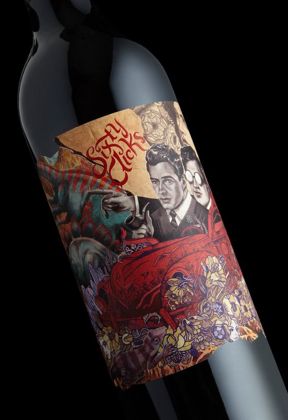 native art wine label