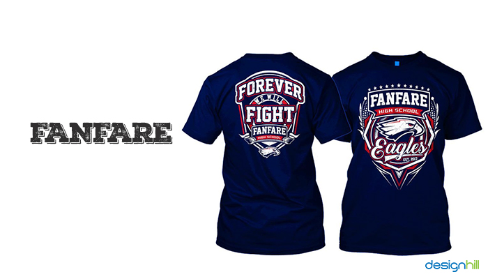 f9760b88 Fanfare high school is amongst the attractive T-shirt designs. It has an  eagle figure in the center and some stylishly written letters.