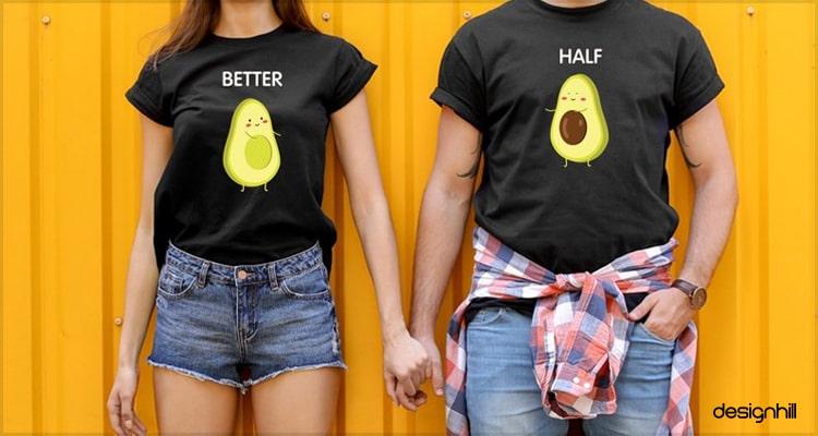 Half Avacado Couple T Shirt