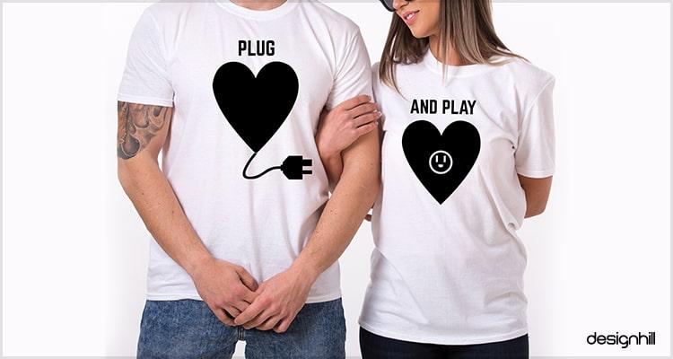 1f4a238c86 Plug And Play Couple T Shirt