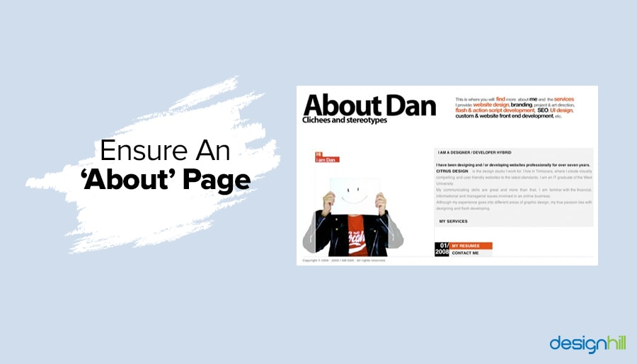 Ensure An 'About' Page