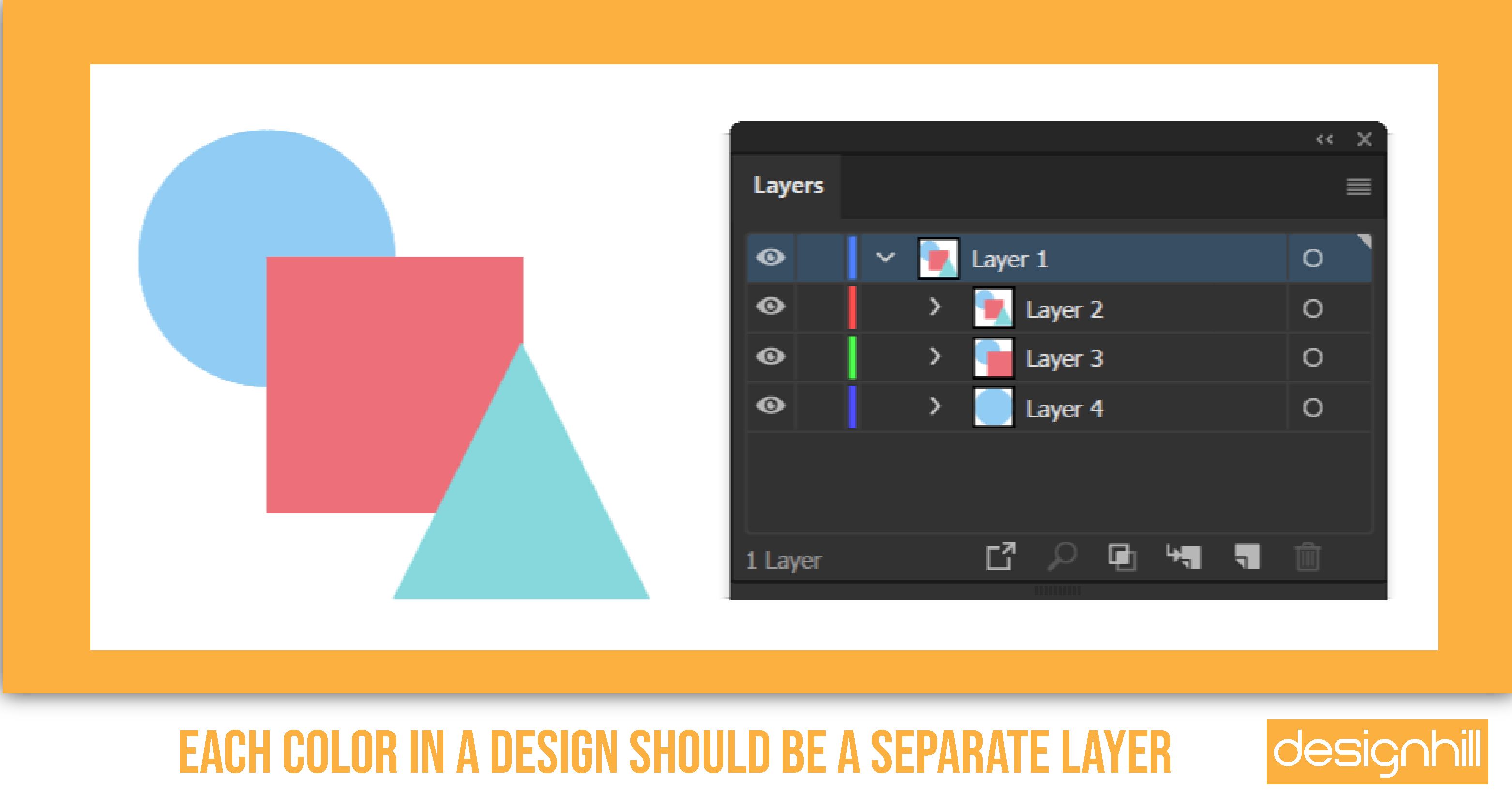 Each Color In A Design Should Be A Separate Layer