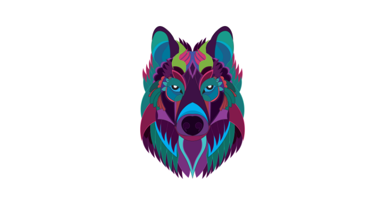 Colorful Wolf Art