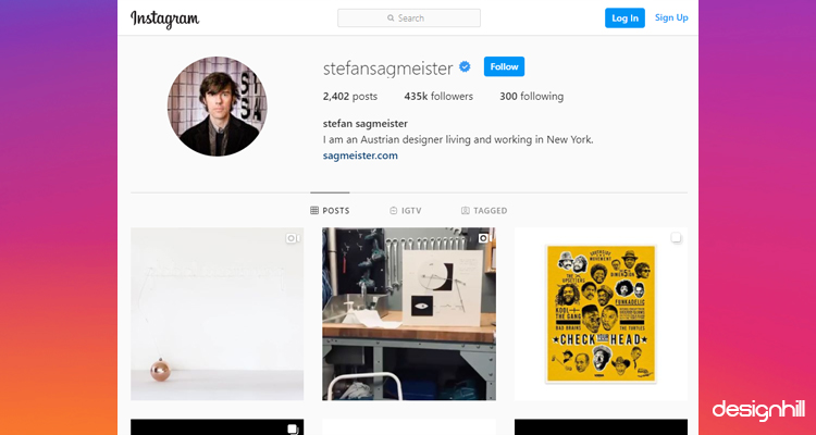Stefan Sagmeister Design Instagram Account
