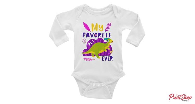 My Favorite Pet - Dinosaur! Baby Long Sleeve Bodysuit