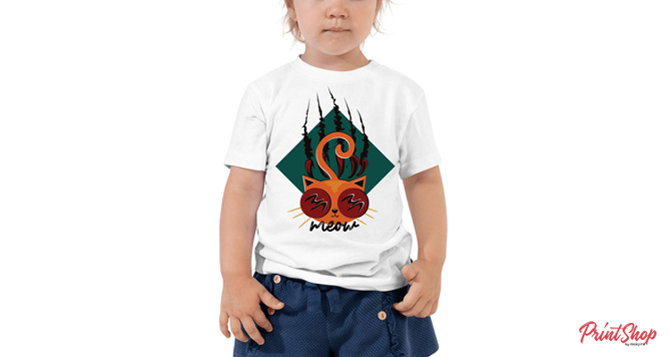 Cat Illustration Toddler Short Sleeve T-Shirt
