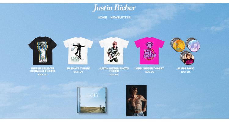 Justin Bieber Merch Store