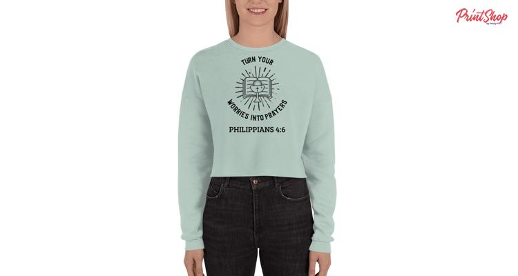 Christian quote Women's Fleece Crop Sweatshirt