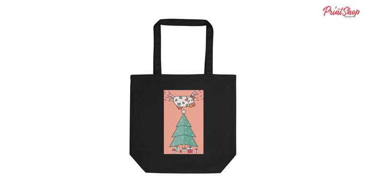 Christmas Cow Organic Cotton Tote Bag