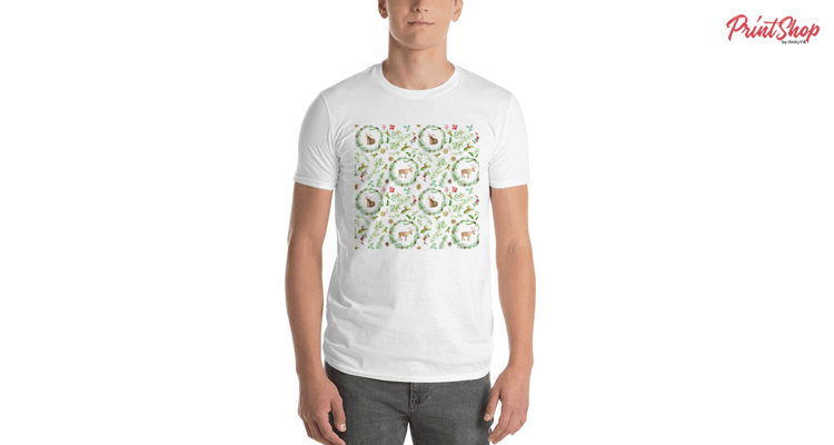 Christmas Watercolor Pattern Men's Premium T-Shirt