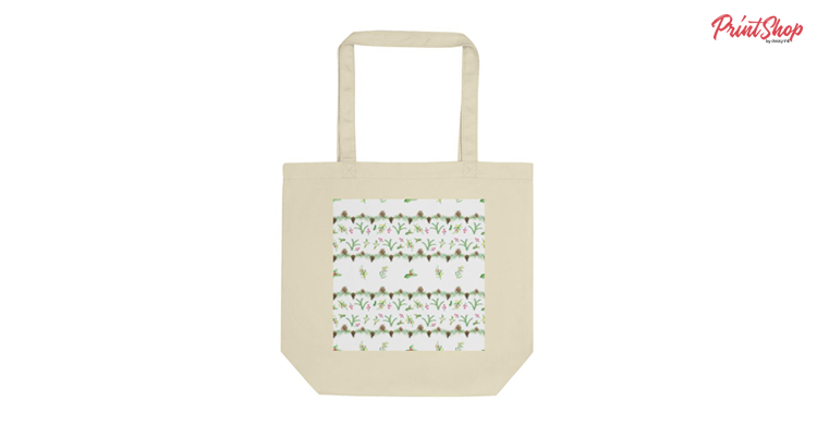 Christmas Watercolor Pattern Organic Cotton Tote Bag