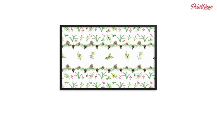 Christmas Watercolor Pattern Premium Luster Framed Poster