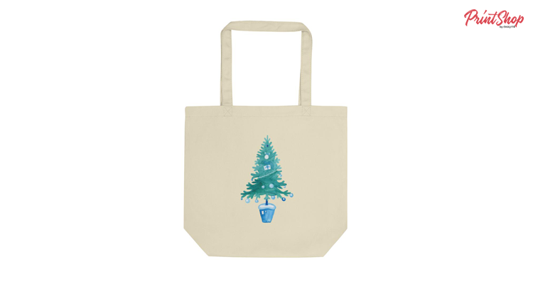 Christmas tree painted Organic Cotton Tote Bag