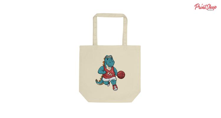 Dino basketball Organic Cotton Tote Bag