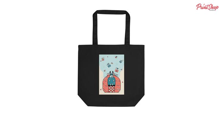 Funny Christmas Illustration Organic Cotton Tote Bag