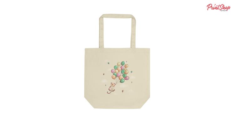 Kawaii cat flying with balloons Organic Cotton Tote Bag