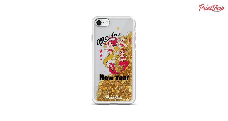 Mer-fect New Year Liquid Glitter iPhone Case