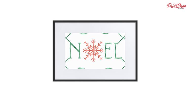 Noel - cross stitch lettering Framed Poster