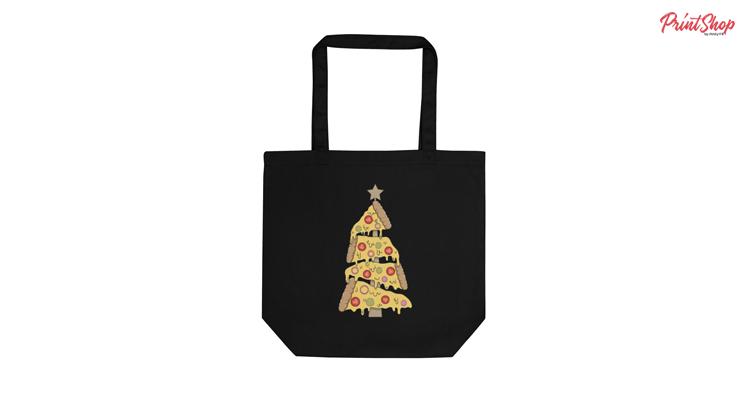 Pizza Christmas Tree Organic Cotton Tote Bag