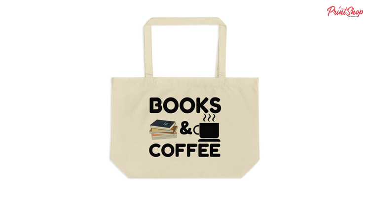 Books And Coffee Organic Cotton Large Tote