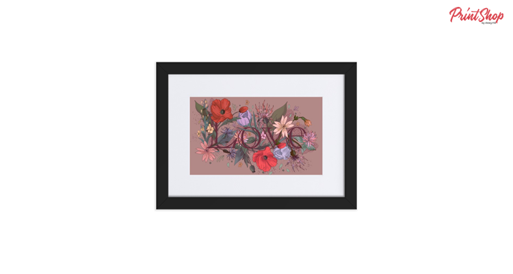 Field Flowers Love Framed Poster with Frame Mat