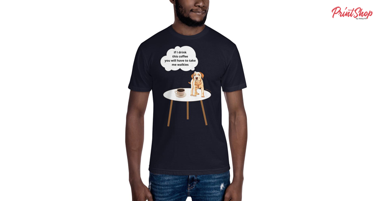 Puppy dog coffee funny thought Men's T-Shirt