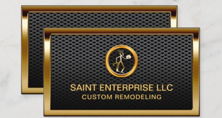 Construction Remodeling Custom Gold Logo Metallic Business Card