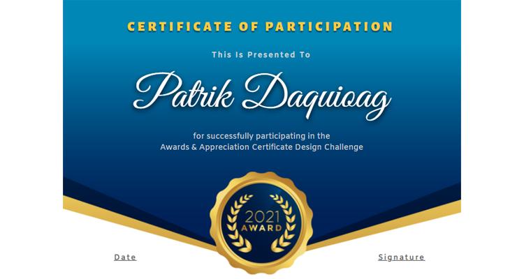 Certificate of Participation Template Design